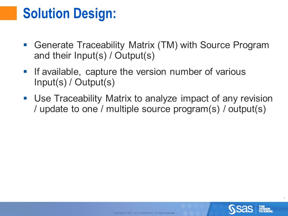 Solution Design: Generate Traceability Matrix (TM) with Source Program and their Input(s) / Output(s)