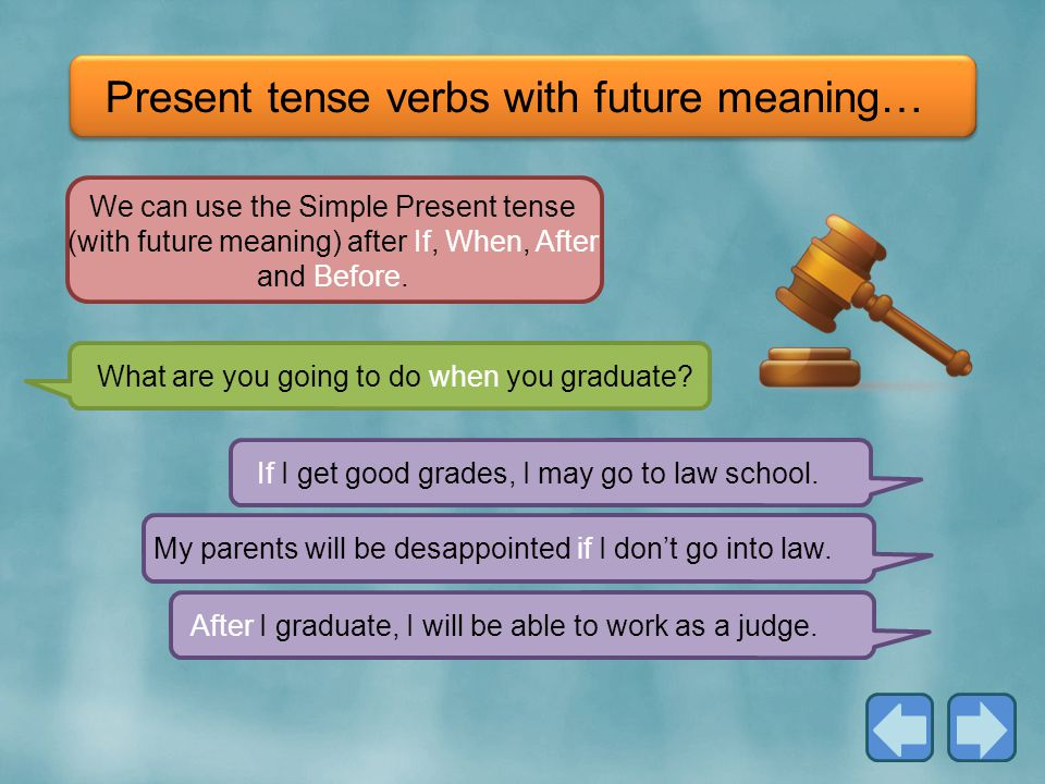 Present tense verbs with future meaning…