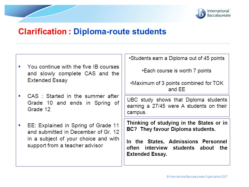 Clarification : Diploma-route students