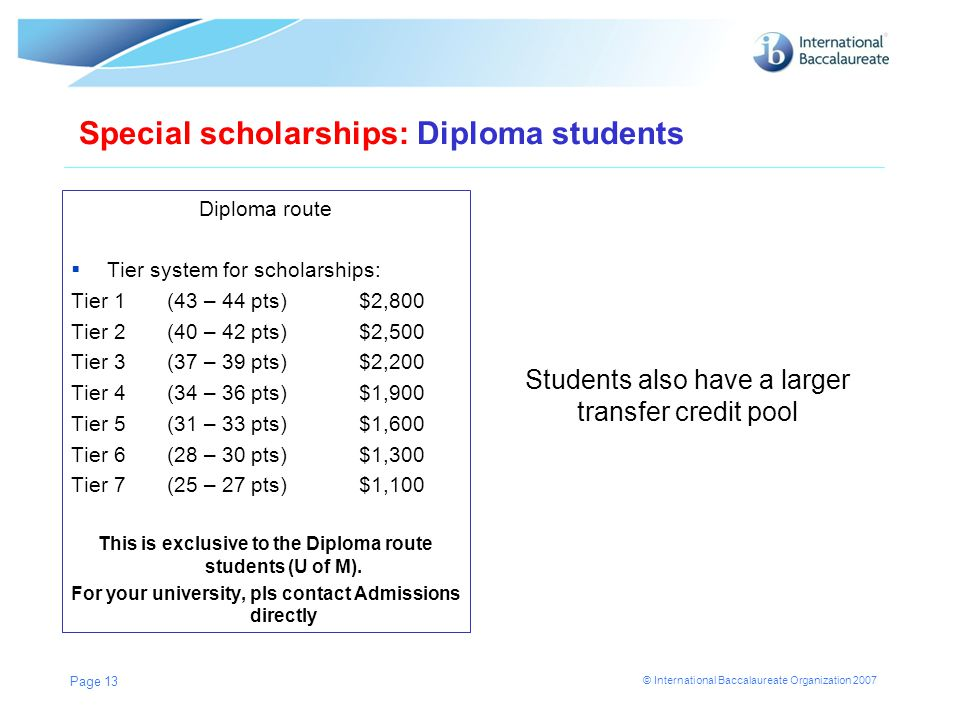 This is exclusive to the Diploma route students (U of M).