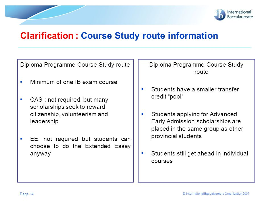 Clarification : Course Study route information