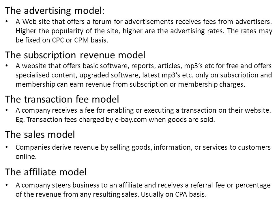 The advertising model: