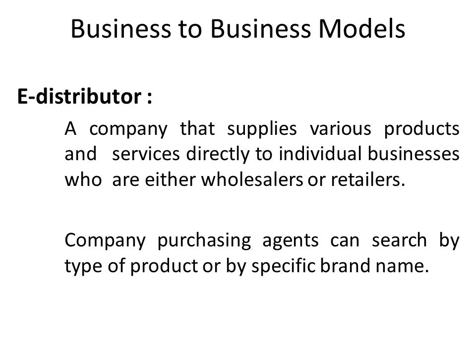 Business to Business Models