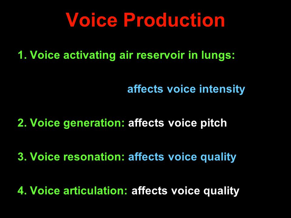 Voice Production 1. Voice activating air reservoir in lungs: