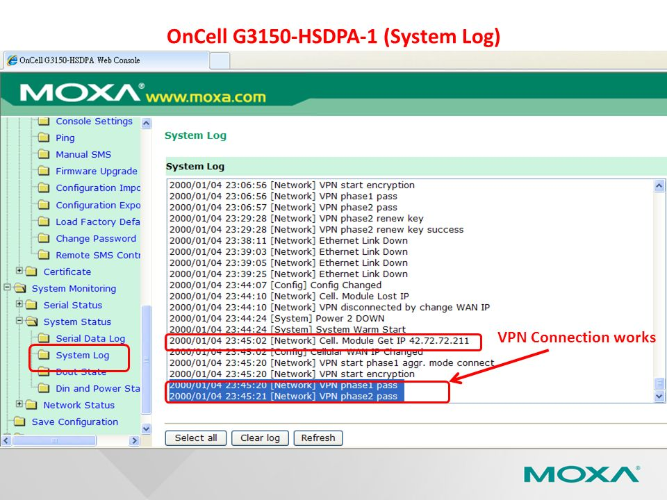 OnCell G3150-HSDPA-1 (System Log)