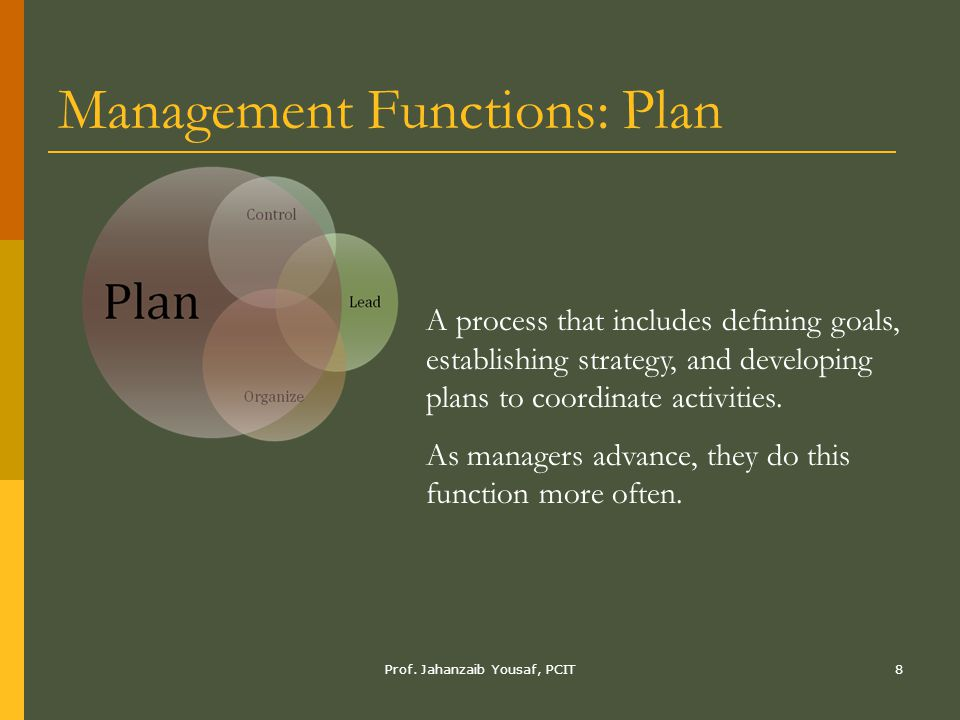 Management Functions: Plan