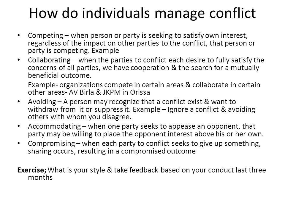 How do individuals manage conflict