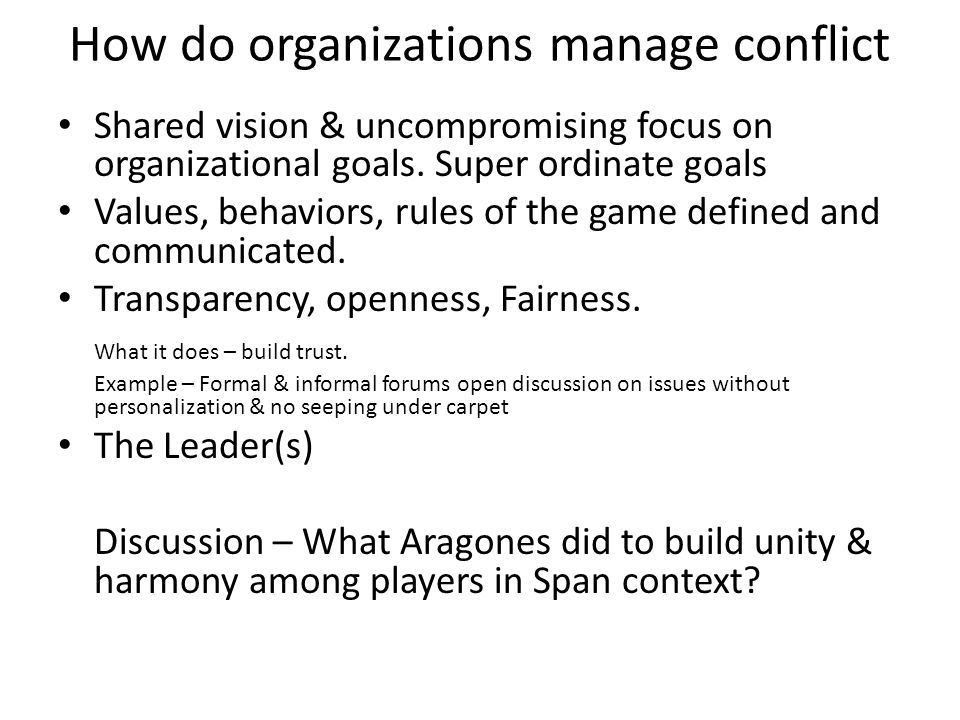 How do organizations manage conflict
