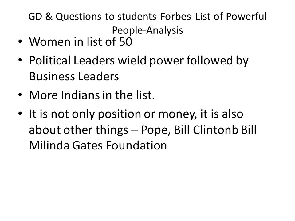 GD & Questions to students-Forbes List of Powerful People-Analysis
