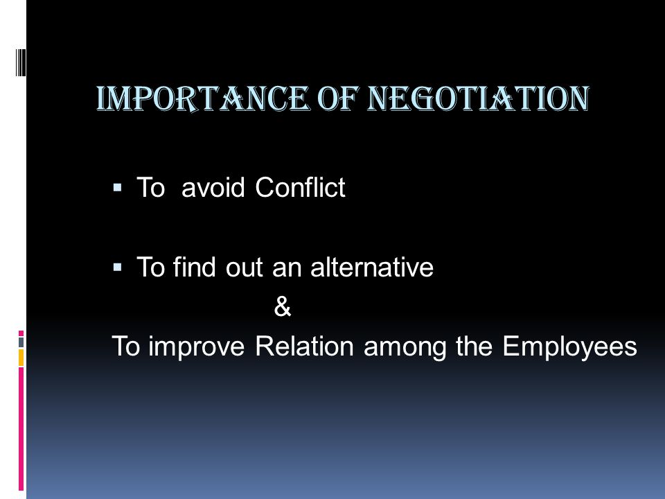 Importance of Negotiation