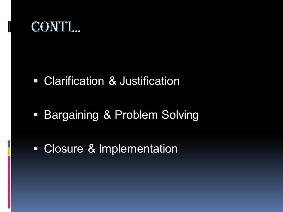 Conti… Clarification & Justification Bargaining & Problem Solving