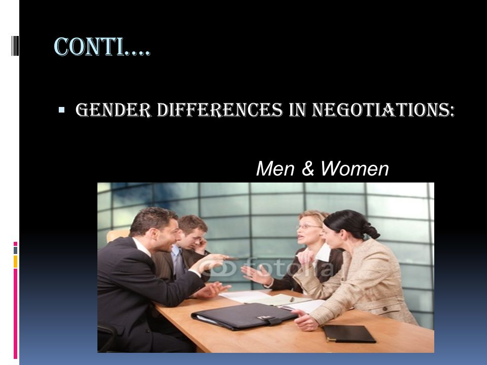 Conti…. Gender Differences in Negotiations: Men & Women
