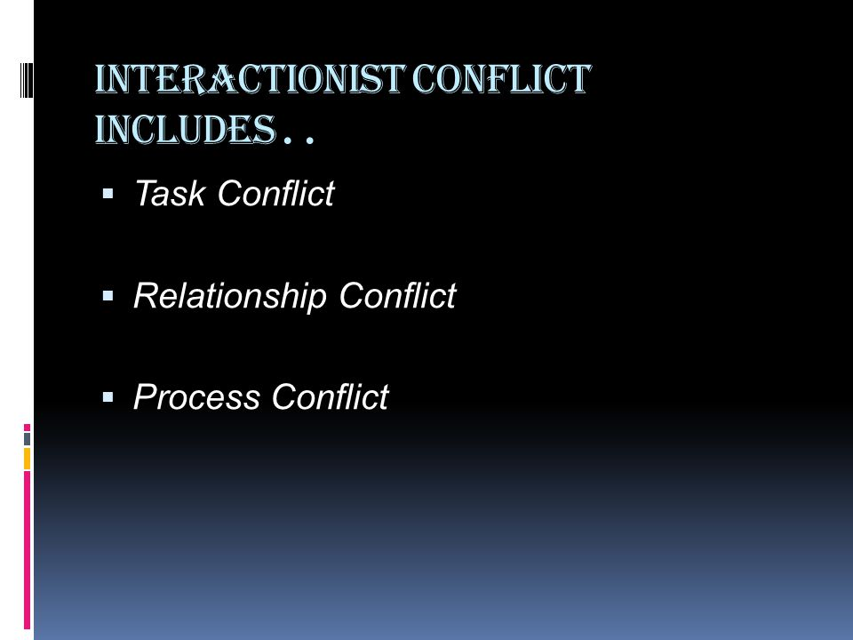 Interactionist Conflict includes..