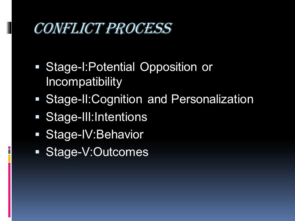 Conflict process Stage-I:Potential Opposition or Incompatibility