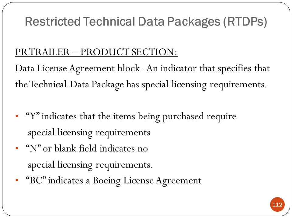 Restricted Technical Data Packages (RTDPs)