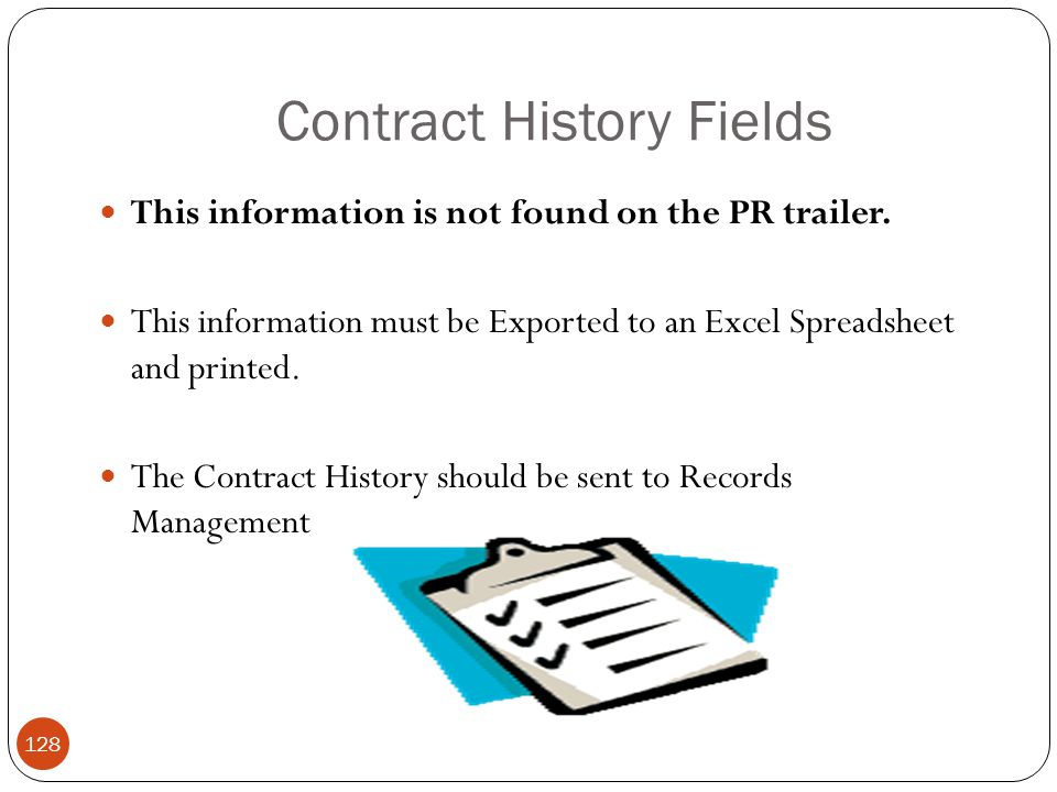 Contract History Fields