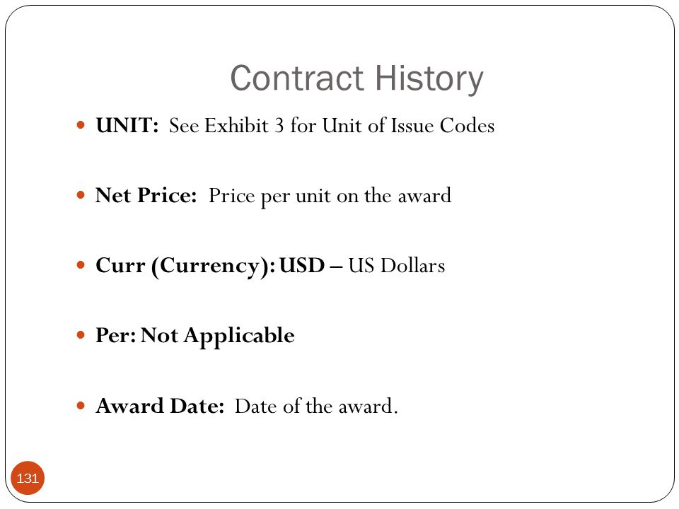 Contract History UNIT: See Exhibit 3 for Unit of Issue Codes