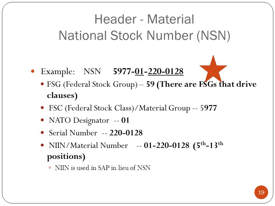 Header - Material National Stock Number (NSN)