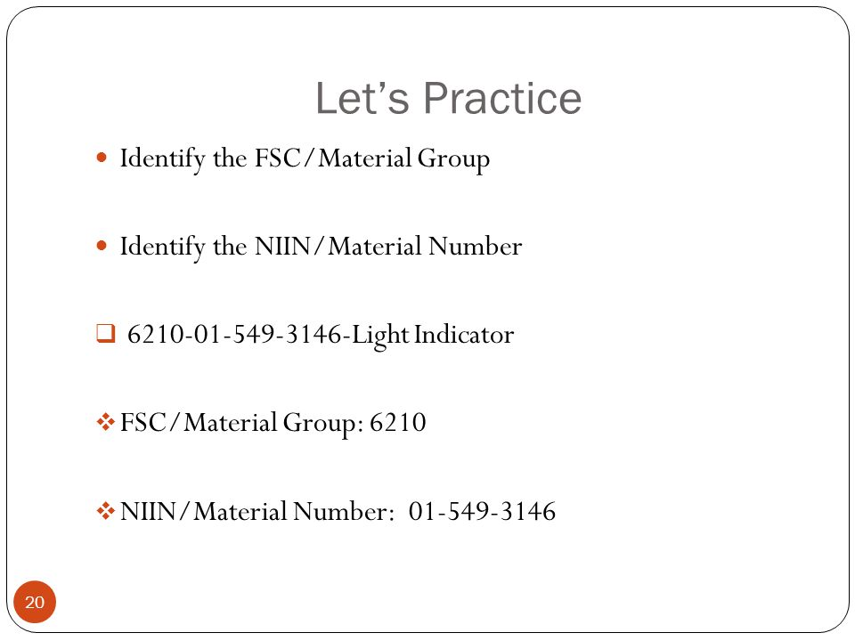 Let's Practice Identify the FSC/Material Group