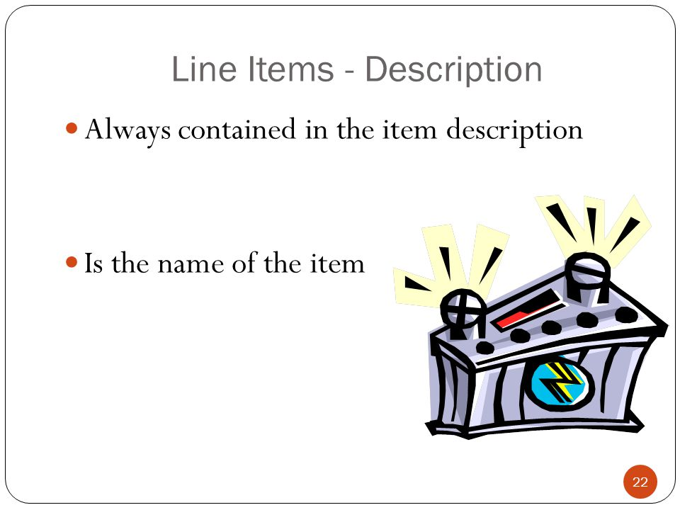 Line Items - Description