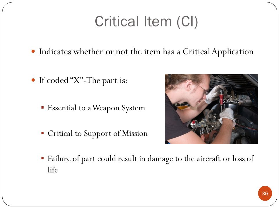 Critical Item (CI) Indicates whether or not the item has a Critical Application. If coded X -The part is: