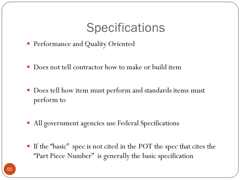 Specifications Performance and Quality Oriented