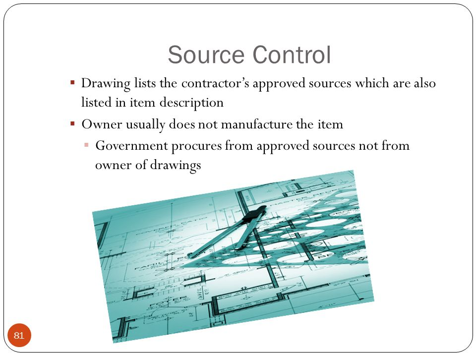Source Control Drawing lists the contractor's approved sources which are also listed in item description.