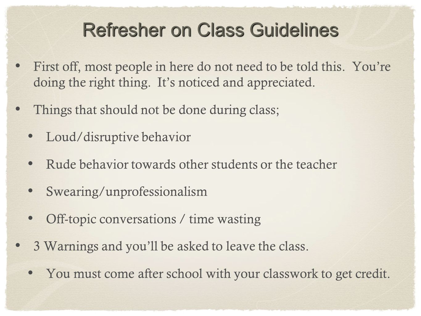 Refresher on Class Guidelines