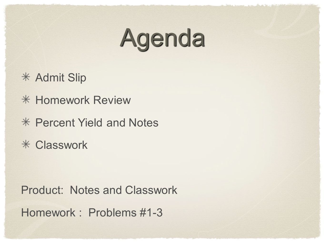 Agenda Admit Slip Homework Review Percent Yield and Notes Classwork