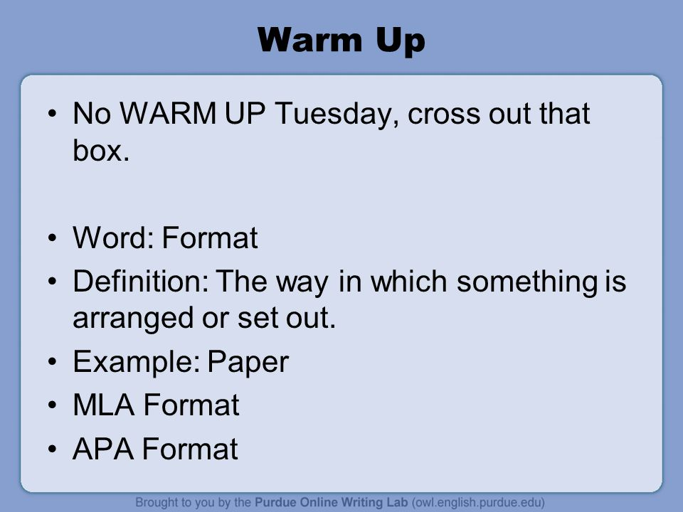 warm up no warm up tuesday cross out that box word format ppt