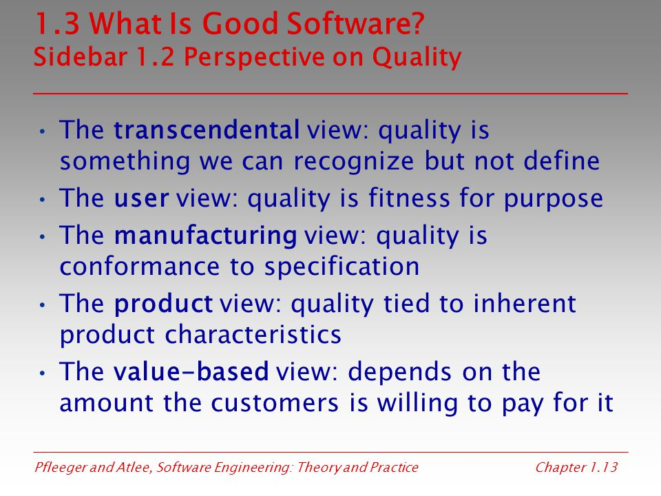 1.3 What Is Good Software Sidebar 1.2 Perspective on Quality