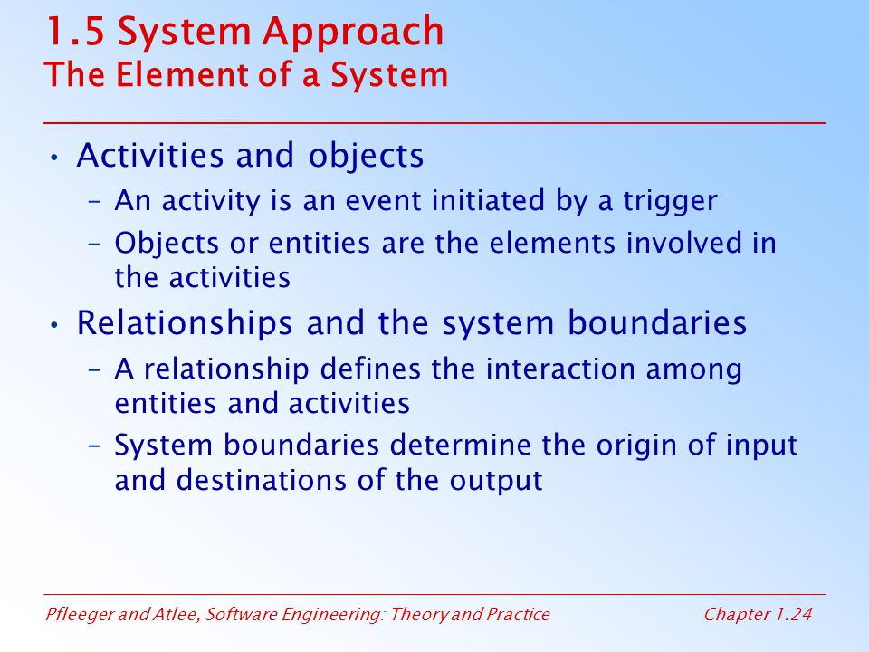 1.5 System Approach The Element of a System
