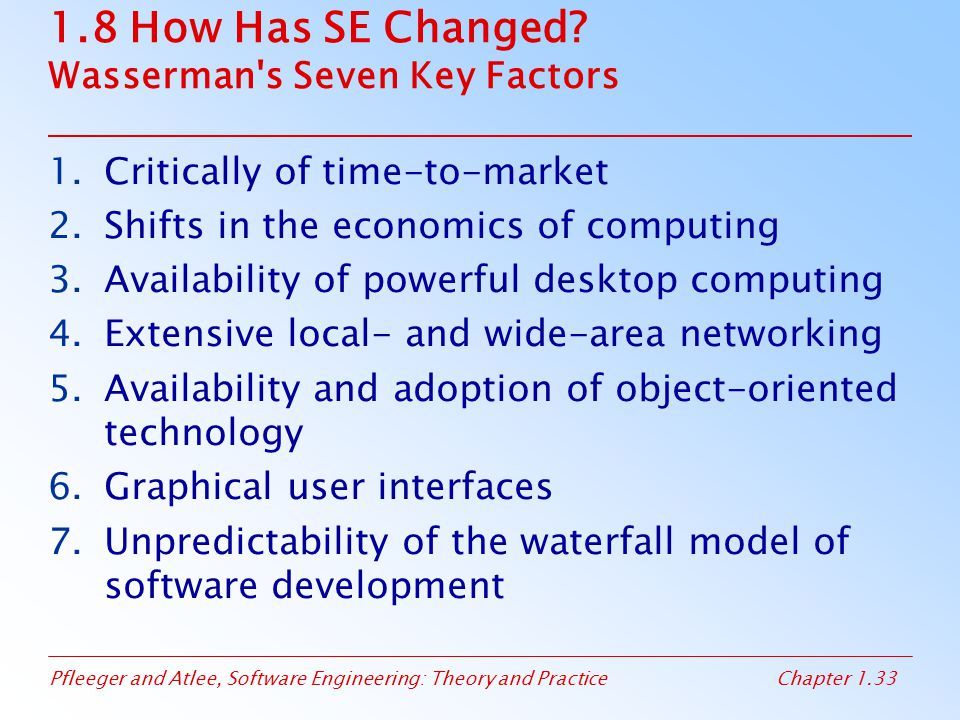 1.8 How Has SE Changed Wasserman s Seven Key Factors