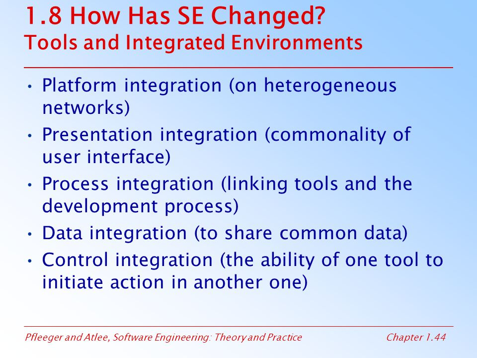 1.8 How Has SE Changed Tools and Integrated Environments