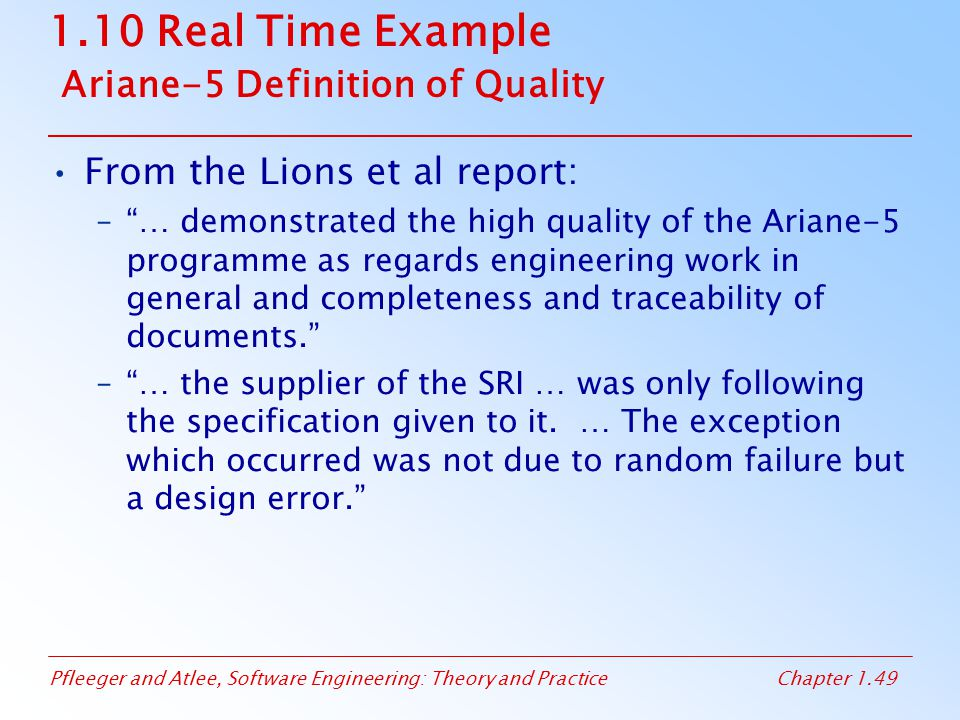 1.10 Real Time Example Ariane-5 Definition of Quality
