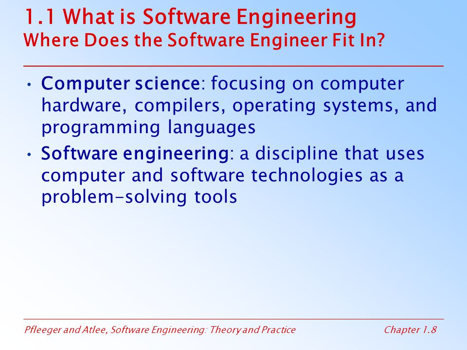 1.1 What is Software Engineering Where Does the Software Engineer Fit In