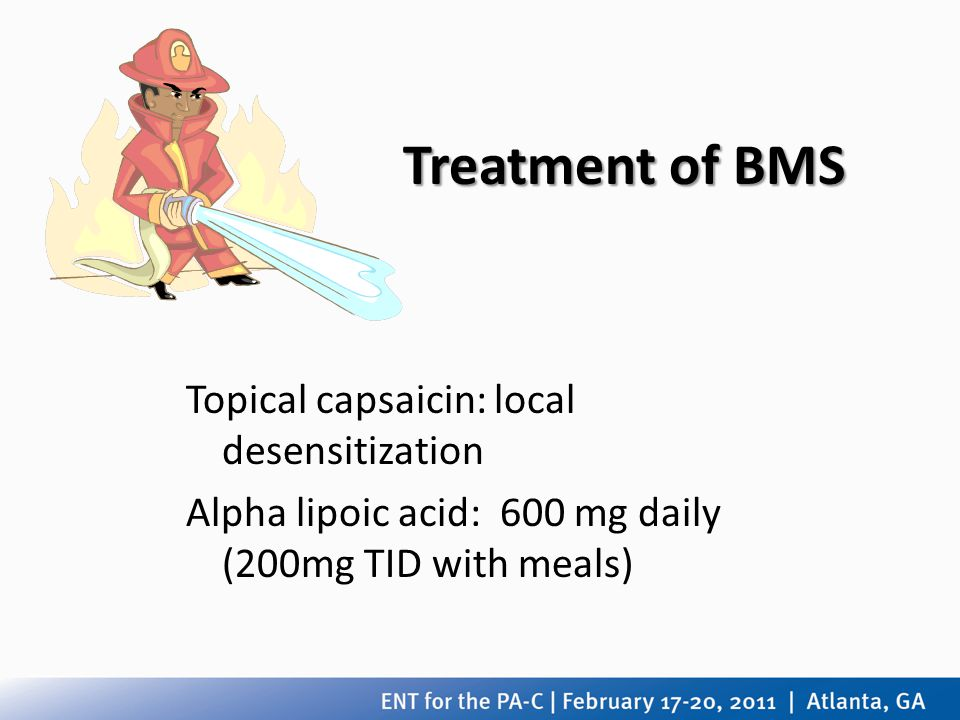 Treatment of BMS Topical capsaicin: local desensitization