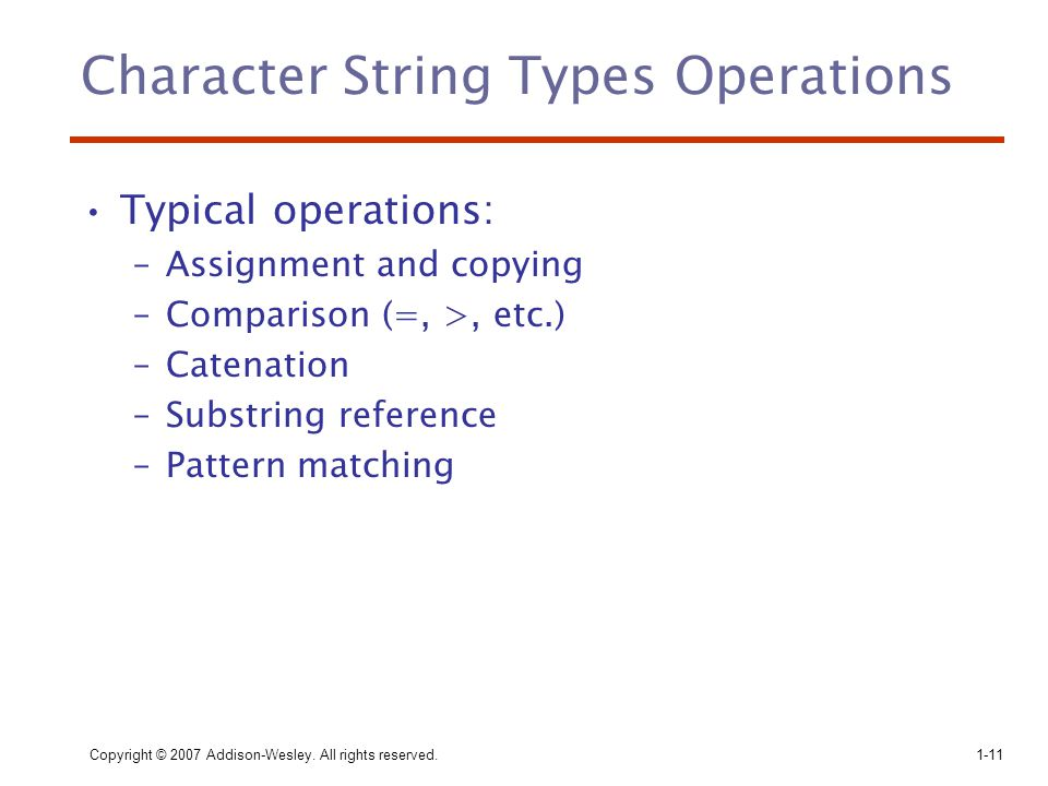 Character String Types Operations