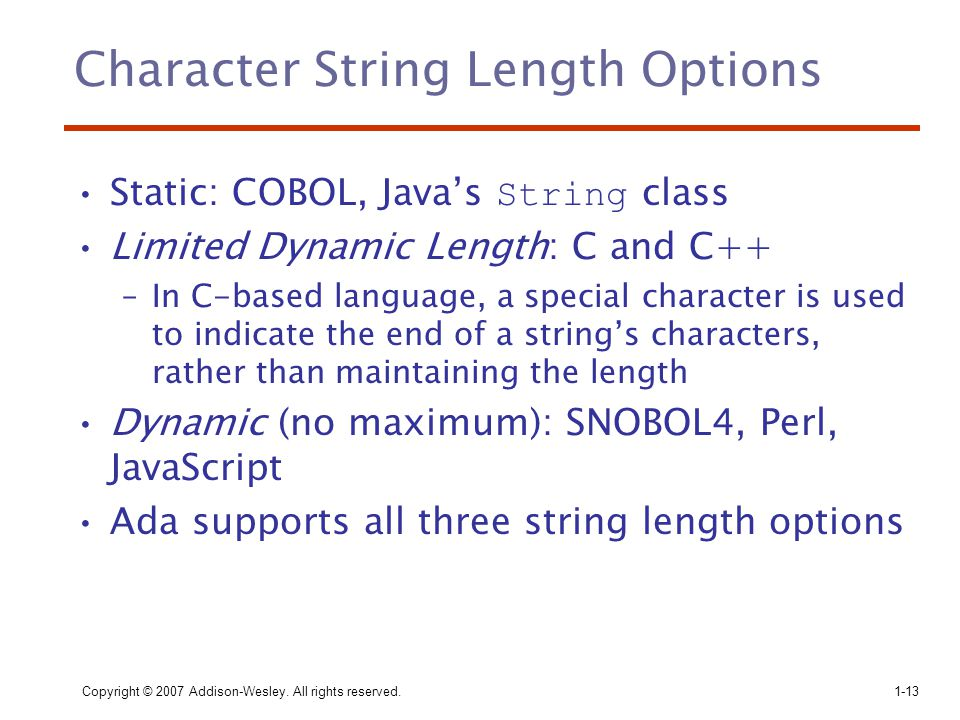 Character String Length Options