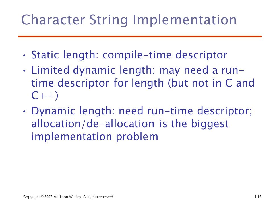 Character String Implementation
