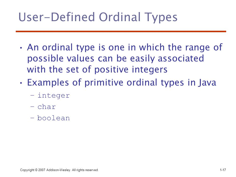 User-Defined Ordinal Types