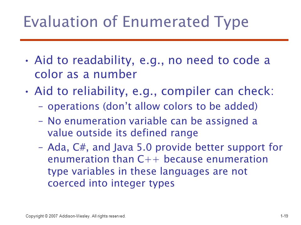 Evaluation of Enumerated Type