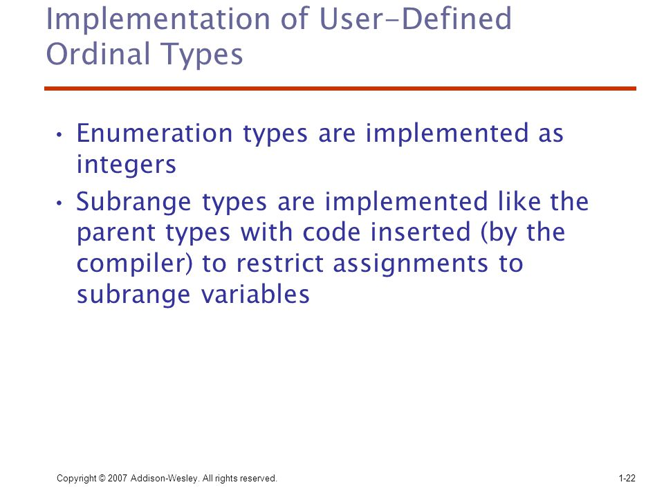 Implementation of User-Defined Ordinal Types