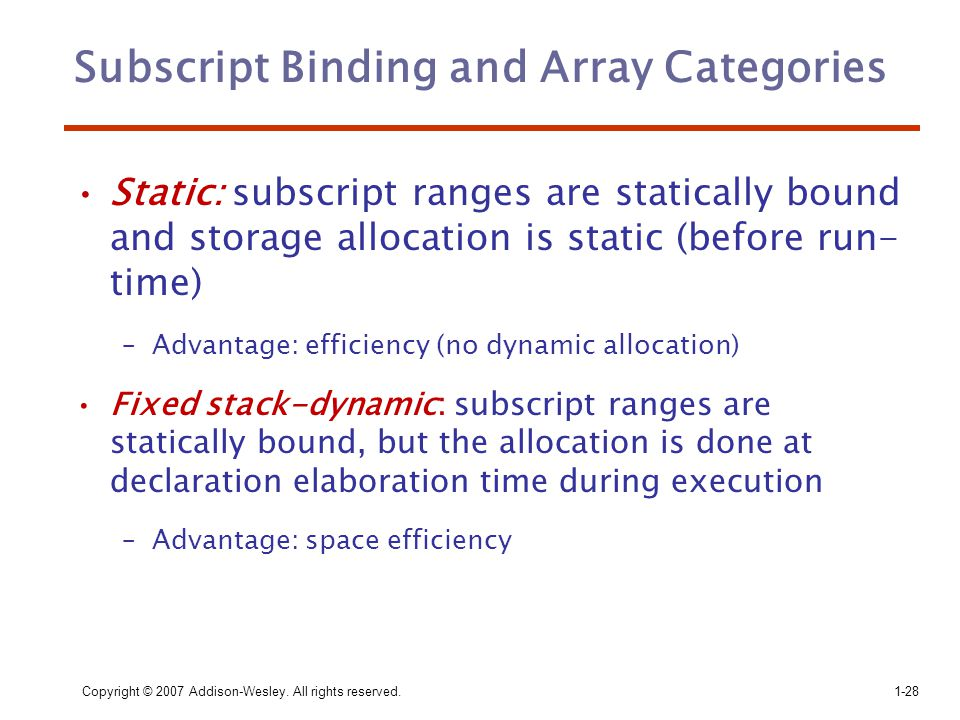 Subscript Binding and Array Categories