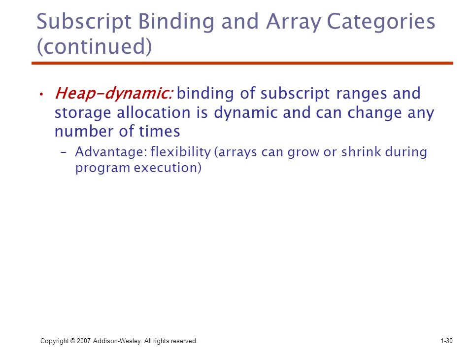 Subscript Binding and Array Categories (continued)