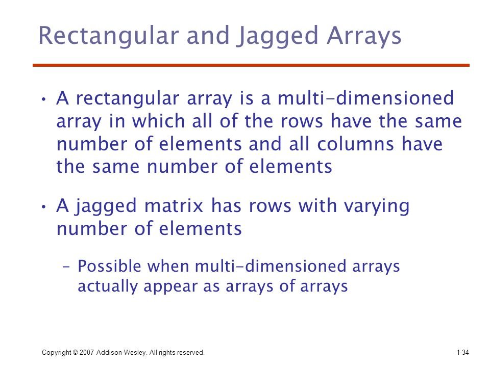 Rectangular and Jagged Arrays