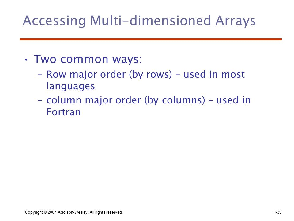 Accessing Multi-dimensioned Arrays