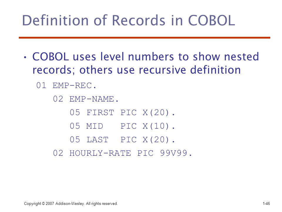Definition of Records in COBOL