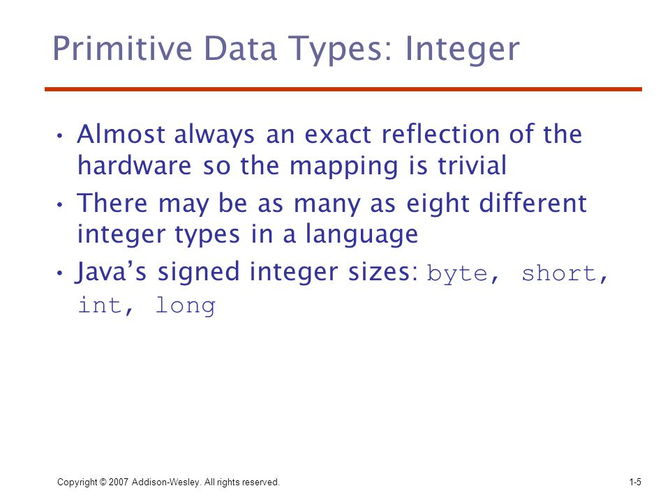 Primitive Data Types: Integer