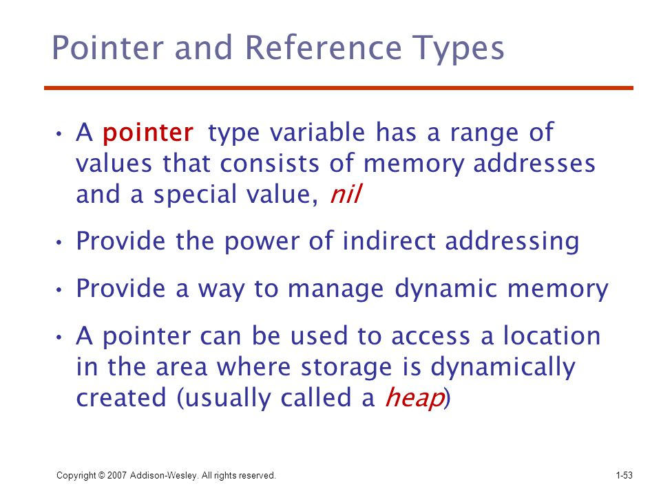Pointer and Reference Types